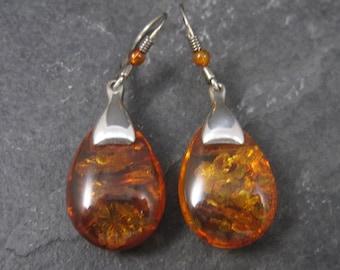 Vintage Sterling Faux Amber Dangle Earrings