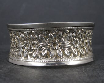 Vintage Sterling Floral Filigree Cuff Bracelet 7 Inches