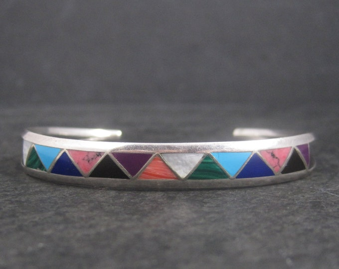 Dainty Vintage Southwestern Sterling Inlay Bracelet 6 Inches