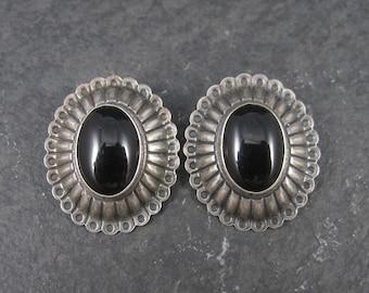 Vintage Southwestern Sterling Onyx Clip On Earrings