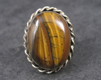 Vintage Chunky Tigereye Ring Sterling Size 8