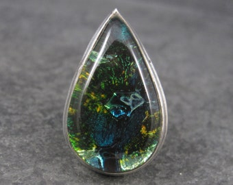 Large Vintage Dichroic Glass Ring Sterling Size 8