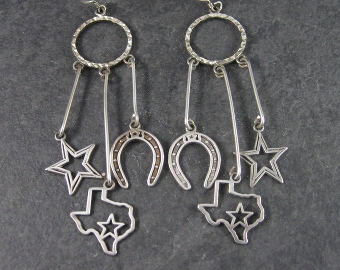 Vintage Sterling Texan Cowgirl Earrings