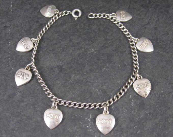Vintage Sterling Beta Sigma Phi Charm Bracelet 1951-1958