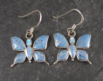 Vintage Denim Lapis Opal Inlay Butterfly Earrings