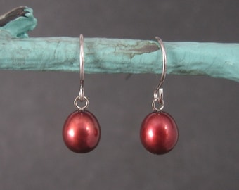 Simple Sterling Red Pearl Earrings