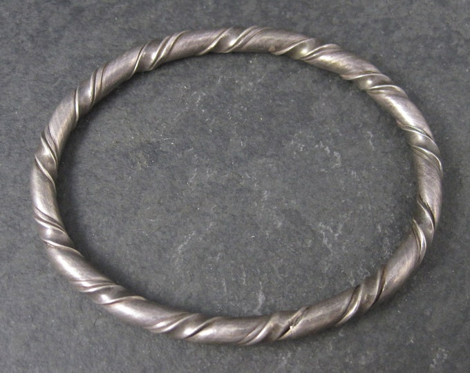Vintage Sterling Twisted Bangle Bracelet 6.5 Inches
