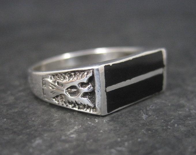 Mens Vintage Sterling Thunderbird Onyx Ring Size 11