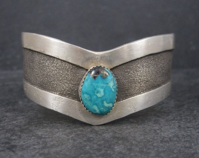 Featured listing image: Vintage Navajo Sterling Tufa Turquoise Cuff Bracelet 6.75 Inches