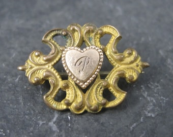 Tiny Antique Brass and Gold Filled Initial P Pin Brooch