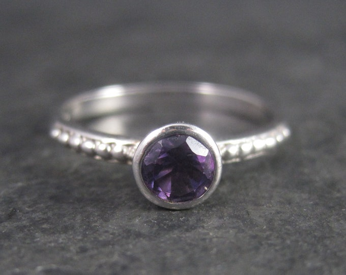 Simple Sterling Amethyst Solitaire Ring Size 9 Clyde Duneier