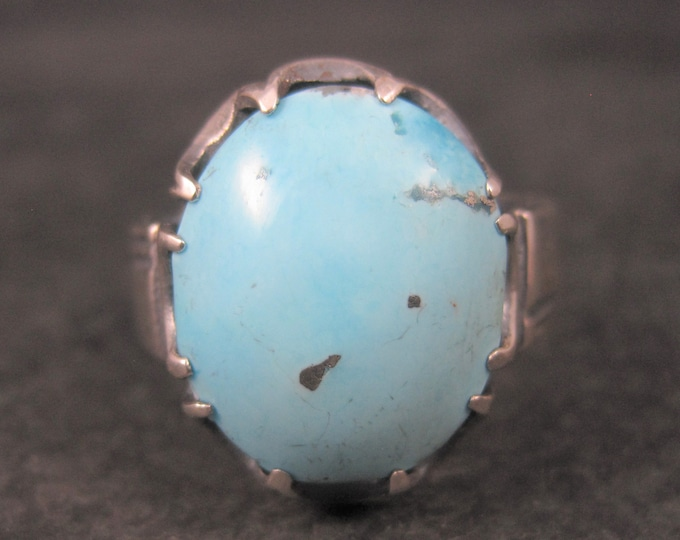 Heavy Mens Vintage Sterling Turquoise Ring Size 13
