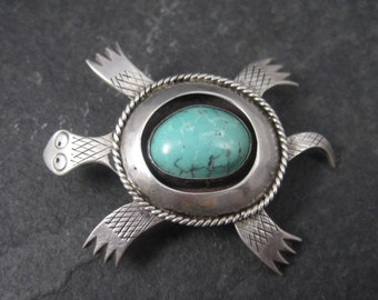 Vintage Southwestern Sterling Turquoise Turtle Brooch Pendant