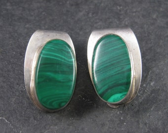 Vintage Mexican Sterling Malachite Clip On Earrings