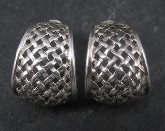 Vintage Sterling Woven Half Hoop Earrings