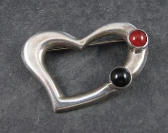 Vintage Sterling Carnelian Onyx Heart Brooch