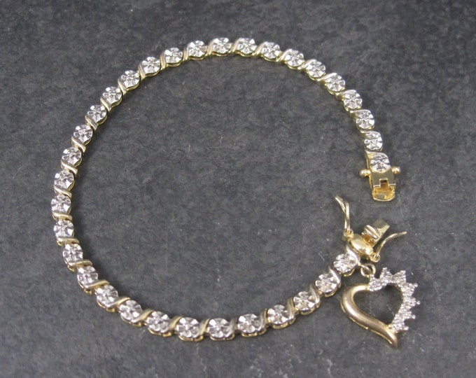 Vintage Vermeil Sterling Illusion Heart Bracelet