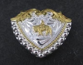 Vintage Circle Y Silver Western Horse Bandana Hair Tie Clip