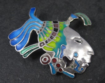 Vintage Mexican Sterling Enamel Mayan Warrior Brooch Pendant