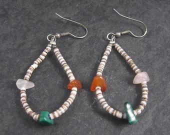 Vintage Southwestern Gemstone Heishi Shell Earrings