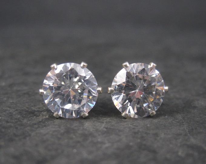 April Birthstone Sterling Stud Earrings 8mm