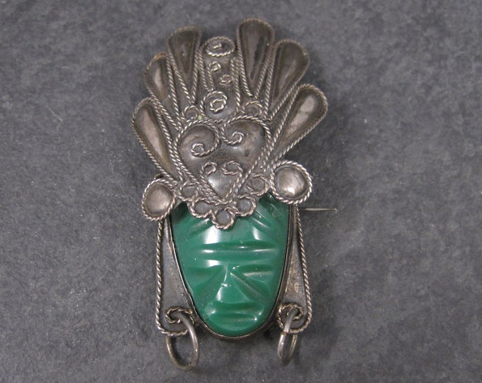Vintage Mexican Sterling Mayan Mask Brooch AIM
