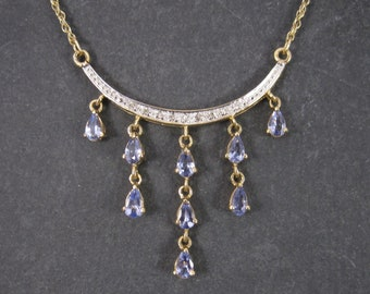 1990s 10K Diamond Tanzanite Moon Necklace