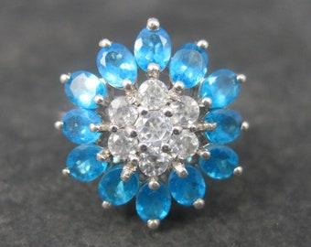 Vintage Sterling Topaz Flower Ring Size 7