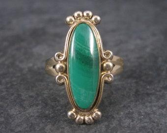 Vintage Southwestern Malachite Ring 12K Gold Filled Size 7