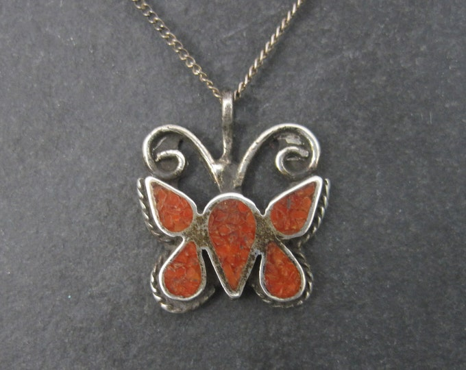 Sterling Crushed Coral Inlay Butterfly Pendant Necklace