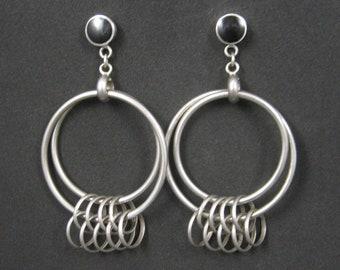 Large Sterling Onyx Circle Earrings