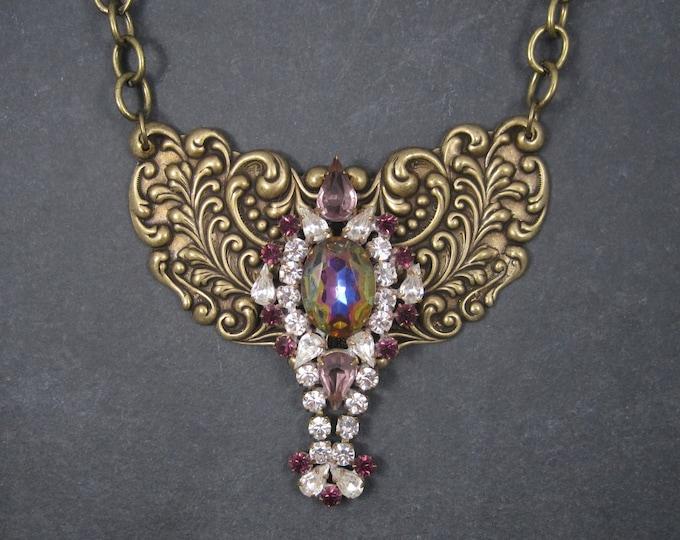 Brass Rhinestone Runway Bib Necklace