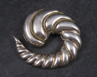 Vintage Mexican Sterling Swirl Brooch Pendant Laton