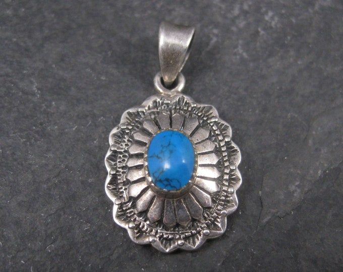 Small Southwestern Sterling Turquoise Pendant