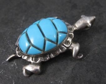Vintage Sterling Turquoise Enamel Turtle Pendant