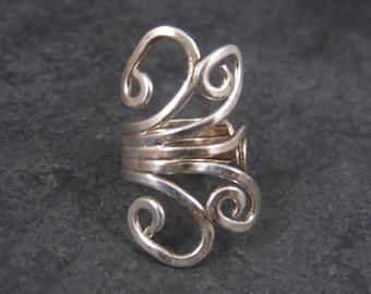 Vintage 80s Modernist Sterling Swirl Ring Size 5.5