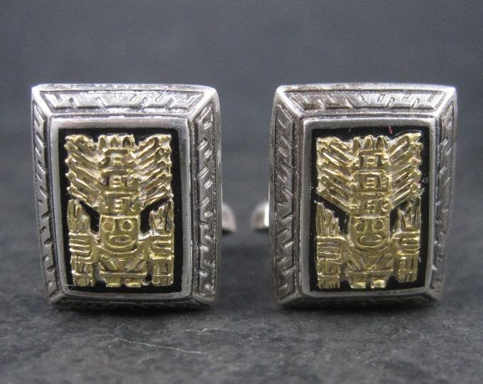 Vintage Sterling 18K Bolivian Inca Viracocha Cufflinks