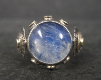 Unique Sterling Blue Moonstone Ring Size 8