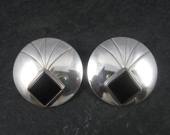 Large Round Vintage Sterling Navajo Onyx Earrings