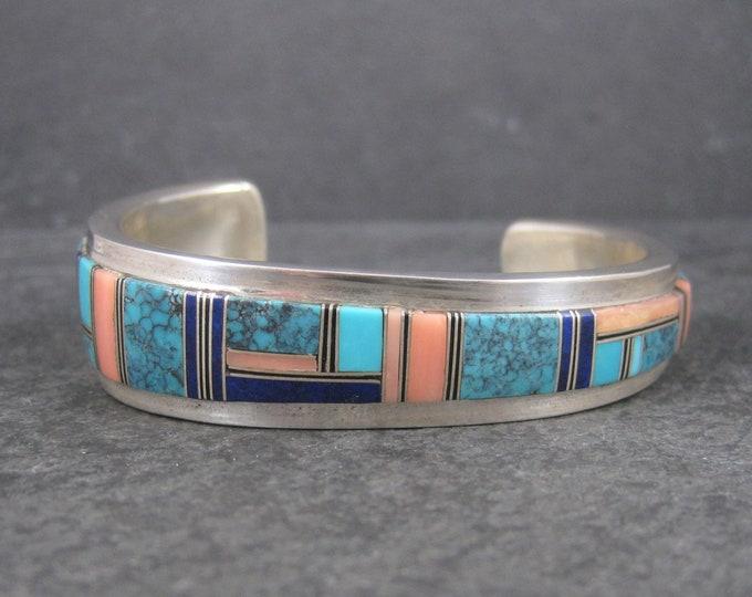 Vintage Navajo Turquoise Lapis Cuff Bracelet Wilbert Yazzie