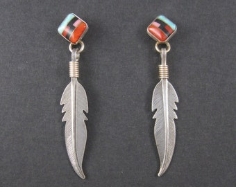 Vintage Southwestern Sterling Inlay Feather Earrings