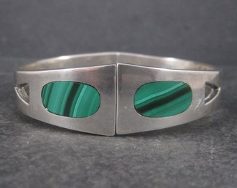 Vintage Mexican Sterling Malachite Clamper Bracelet 6.75 Inches