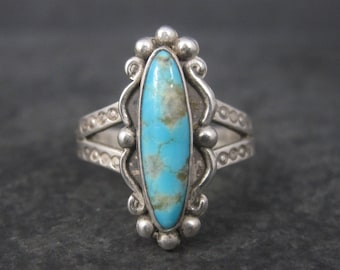 Vintage Southwestern Sterling Turquoise Ring Size 7.25 Harvey Era
