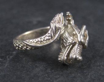 Vintage Sterling Figural Dragon Ring Adjustable Size 8