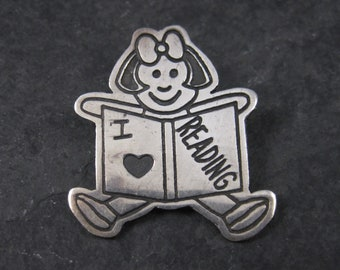 Vintage Sterling Librarian I Love Reading Brooch