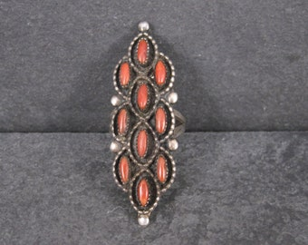 Long Vintage Native American Coral Ring Size 6.5