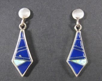 Vintage Southwestern Sterling Lapis Opal Inlay Earrings
