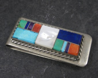Vintage Sterling Navajo Inlay Money Clip Yazzie