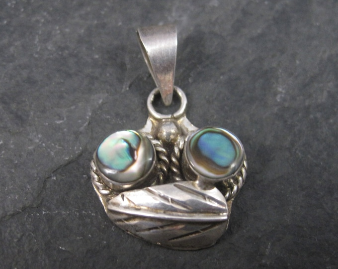 Small Vintage Mexican Sterling Abalone Feather Pendant