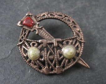 Vintage Copper Celtic Miracle Brooch Soloor